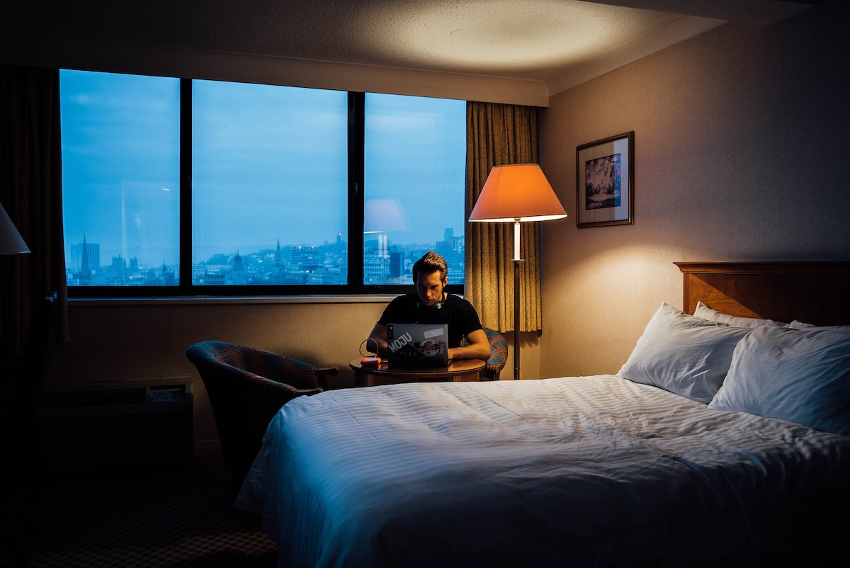 hacker in a hotel trying to breach system